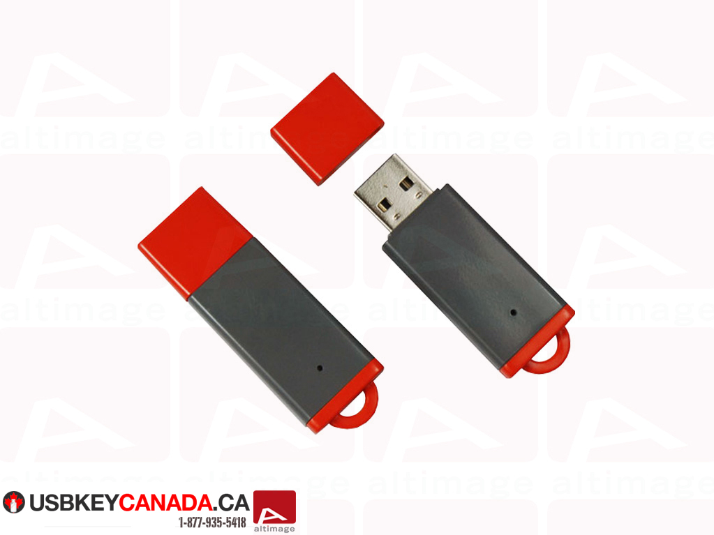 Custom grey and red usb key
