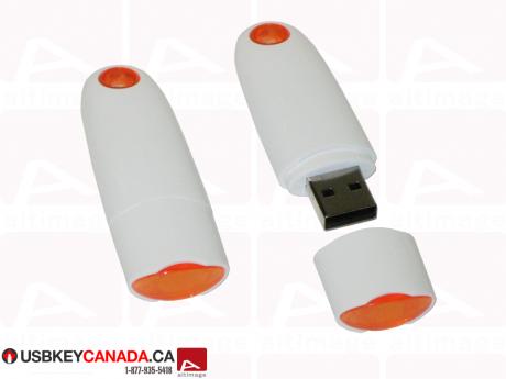 Custom white and orange usb key