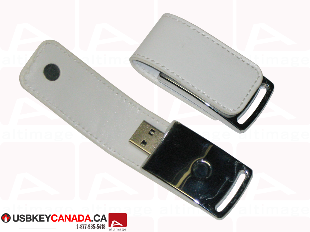 Custom white leather usb key