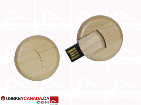 Custom Flash Drive circle wood