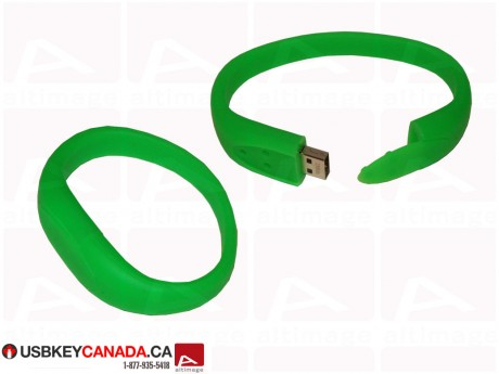 Custom green rubber bracelet Flash Drive