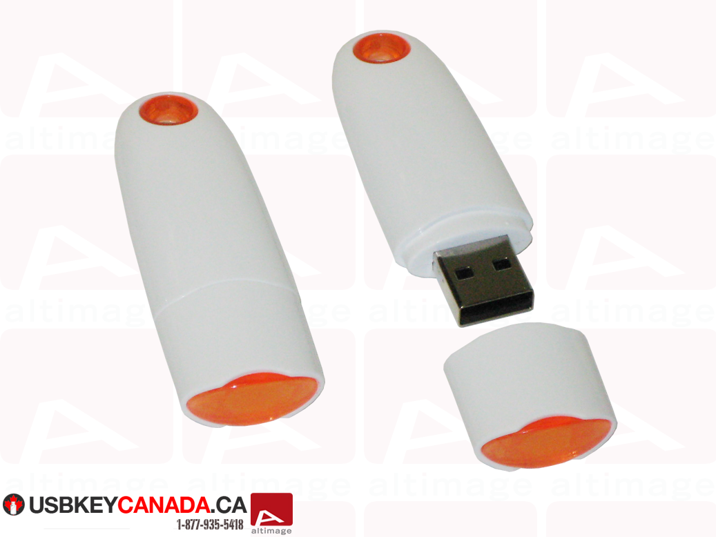 Custom white and orange usb key
