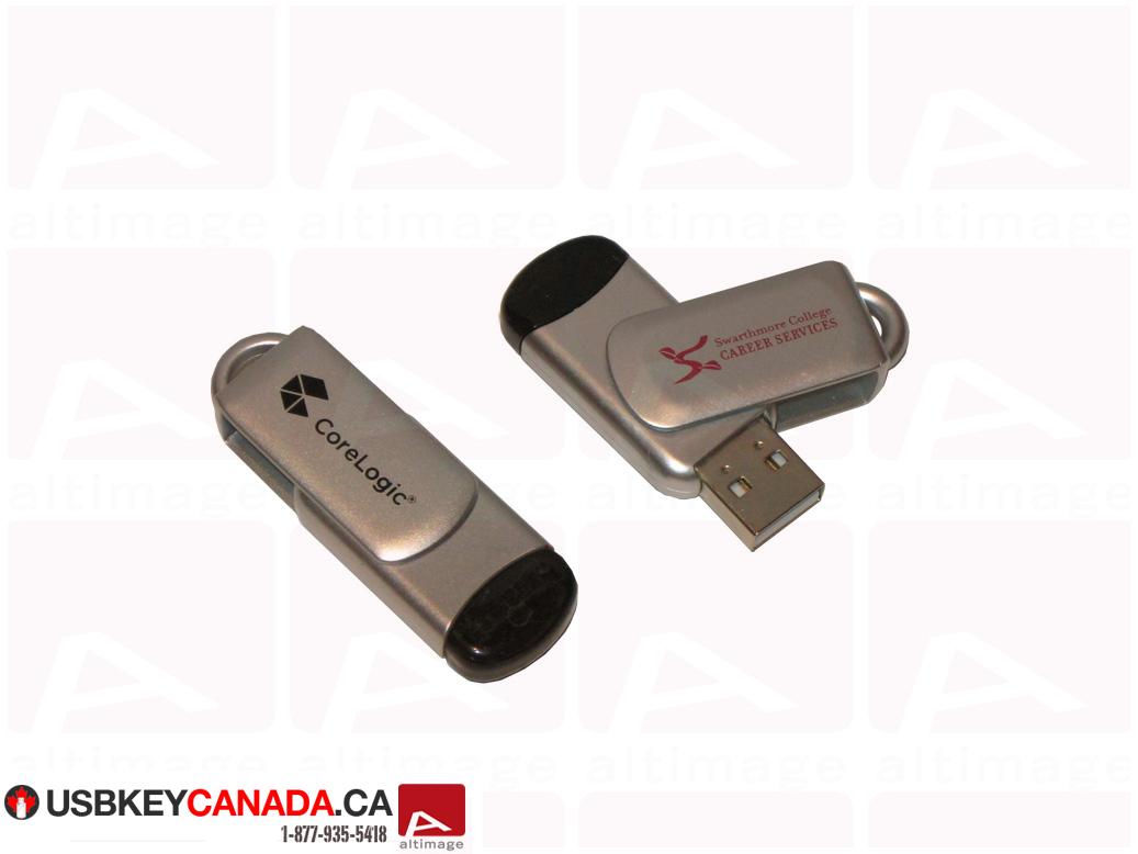 Custom silver and black usb key