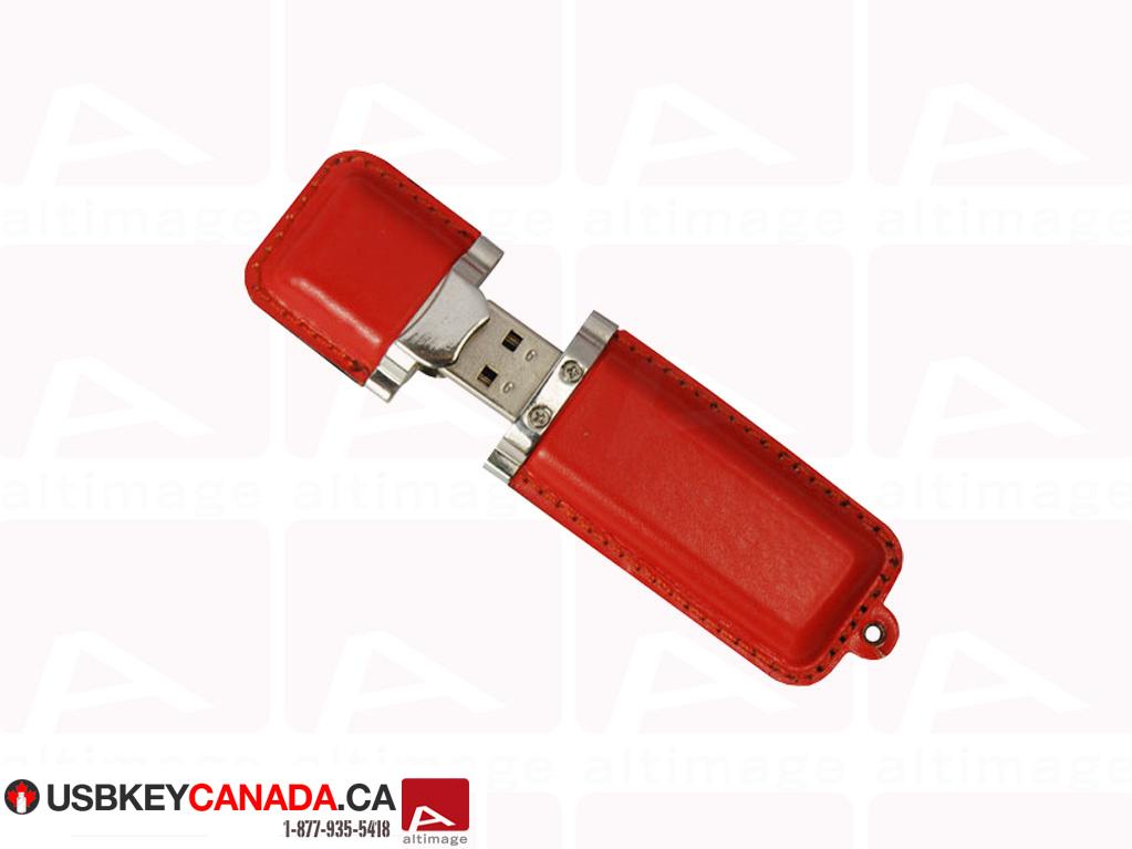 Custom red leather usb key